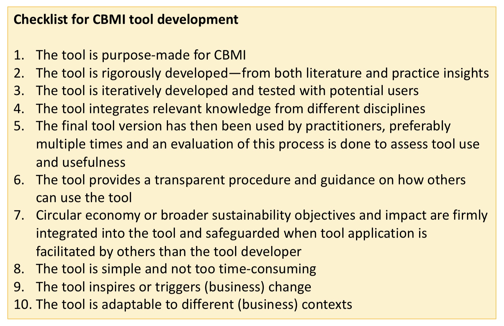 Checklist for tool CBMI development